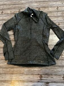 UNDER ARMOUR Cold Gear Half-Zip Pullover Size L GREY HEATERED