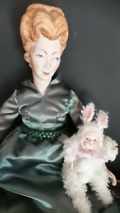 Antique REPRODUCTION  STYLE Faux MOHAIR BUNNY RABBIT Jointed Bisque DOLL
