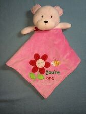 Carters One Size Bear You're One Of A Kind Security Blanket Pink EUC Lovey Rattl