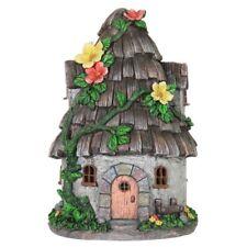 Miniature Dollhouse FAIRY GARDEN - Solar Wood Shingle Roof House - Accessories
