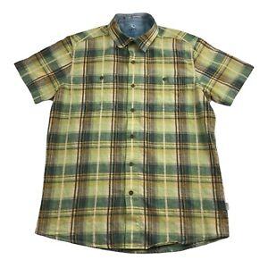KUHL Mens MEDIUM Short Sleeve LINEN BLEND Green Plaid Button Up Shirt MOUNTAIN