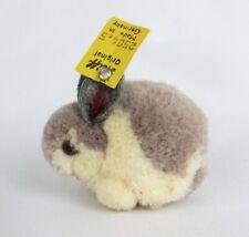 Vintage Steiff Gray & White Wool Pom Pom Bunny Rabbit with Original Button Tag