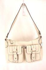 Fossil Ivory White Leather Double Pocket Single Strap Purse Shoulder Bag Women's