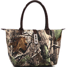 New Realtree® Women Twist Lock Purse Camouflage Faux Leather Tote Shoulder Bag