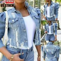 Women Puff Sleeve Short Cropped Button Down Jean Coat Ladies Casual Denim Jacket