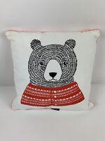 Bloomingville Boutique Danish Girls Decor Bear Pillow Pink Trim NWT