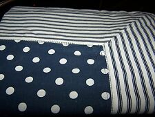 Tablecloth Cloth Navy Blue White Spots Stripes Heavy Quality Cotton 150x250cm