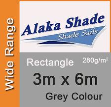Extra Heavy Duty Shade Sail Grey Rectangle 3x6m, 3m x 6m, 3 by 6m, 3 x 6m, 3mx6m