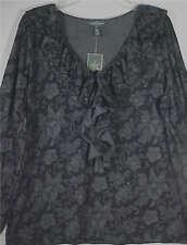 LRL Lauren Jeans Co 100% Cotton Black & Gray Ruffle Long Sleeve Blouse NWT Sz XL