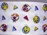 "Looney Tunes Sylvester & Tweety Fabric Grosgrain Ribbon 10 Yds 2 1/4"" Wide"