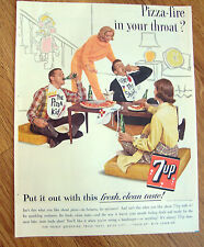 1962 7up Soda Pop Bottle Ad  Pizza-Fire in your Throat?  Pizza Party