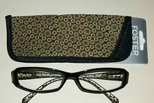 8fea17ea8b Foster Grant Black Reading Glasses Compact Readers with Black Gold Case  +2.50