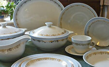 Alfred Meakin Powder Blue with Gold on White Dinner Service Set serves 6