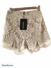 Pretty Little Thing Cream Lace Shorts New Size 8 Fully Lined