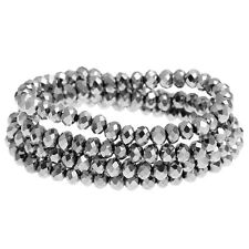 1 STRAND SILVER TONE CRYSTAL FACETED RONDELLE BEADS ~4mm~APPROX 149 BEADS  (22H)