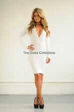 Womens Ladies Bodycon Low V Plunge Celeb Towie Pencil Party Glam Dress L Long Sleeve White
