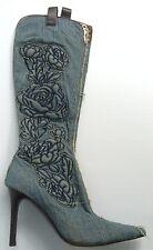$795 Roberto Cavalli Denim Jean Boot Rose High Heel 39.5🌟TEXAS🌟Cowboy CowGirl