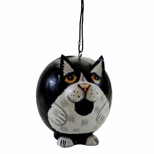 Home & Garden Black /White Cat Birdhouse Wood Gord-O Clean Out Hole Se388203