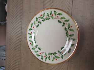 "(8) Lenox China Holiday Salad Desert Plates Holly Berry 8 1/8"" Elegant Christmas"