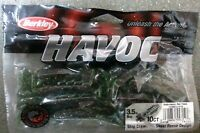 "Berkley Havoc 3.5"" Slop Craw - Watermelon Red Flake Fishing Lures - Pkg 10"