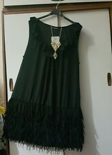 Anonymous Black 1920 Flapper Lagenlook Dress Size 16 BNWT
