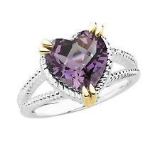 Natural Purple Amethyst 10x10 mm Heart Gemstone Ring 925 Sterling Silver sz 7 US