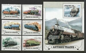 AFGHANISTAN 1999, ANTIQUE TRAINS, LOCOMOTIVES, RAILWAYS, 6 STAMPS + S/S, MNH