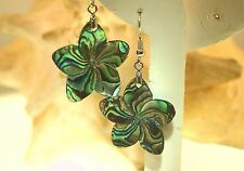30mm HandCarved Paua Abalone Shell Hawaiian Plumeria 316L Dangling Hook Earrings