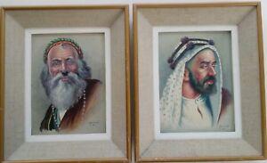 Armenian Art Gallery,2 Portrait Paintings by KAZARIAN,1964,Iranain Armenia Artis