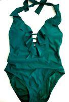 Bleu Rod Beattie Green Strappy Cutout Ruffled One Piece Swimsuit Size 14 NWT