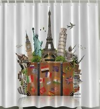Travel Suitcase Fabric SHOWER CURTAIN London Paris Rome NY Adventure Bath Decor
