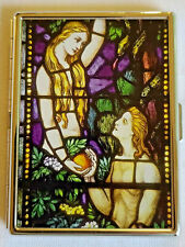 """Adam & Eve Cigarette Case Tin Container Box Metal Silver Stained-Glass Look 3x4"""""""