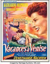 """Movie Poster Summertime 1955 Trimmed Belgian 14.5""""x19"""" VF 7.5 Katharine Hepburn"""