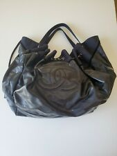 Chanel Black Patent Stretch Spirit Cabas Hobo Tote