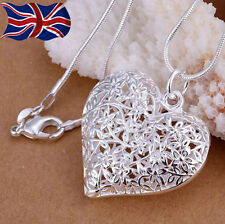 925 Sterling Silver plated Heart Necklace Filigree Lace Hollow Pendant Chain UK