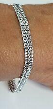 "Vintage 14k 585 White Gold Infinity Link 6mm Chain Bracelet Italy 8.25"""
