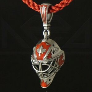 GOALIE MASK team Canada red enamel pendant ice hockey sterling silver Exact copy