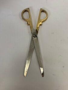 Vintage Shiny Brass Handle Tailor Scissors Shears Large Heavy Ornate Fancy
