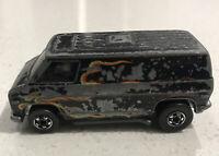 Vintage 1974 Hot Wheels Mattel Redline Hong Kong Flame Van Original Black Paint!