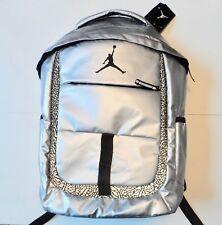 NEW Nike Air Jordan Backpack Bookbag Silver Black School Bag Laptop Storage