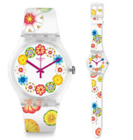 Swatch Kumquat Watch suok127 Analogue Silicone Multicolour, White