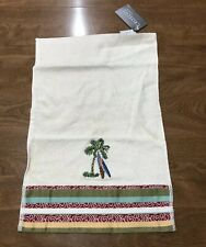 Croscill Palm Tree Surfboard Surfing Tropical Beach House Fingertip Towel NEW