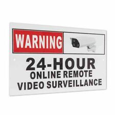 Metal Security Sign Camera Warning CCTV 24 Hour Online Remote Video Surveillance