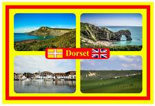 DORSET, UK - SOUVENIR NOUVEAUTÉ AIMANT DE RÉFRIGÉRATEUR - DRAPEAUX / SITES