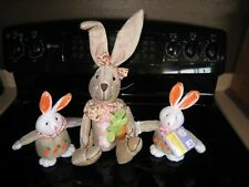 Easter & Spring Decor~ Burlap Stuffed Bunny'S With Carrots Collection~New!