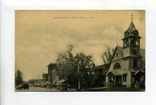 Derry NH Main Street view, old cars, stores, Baptist Church, clock tower, 30's?