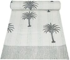 Indian Hand Block Print Kantha Quilt Throw Reversible Bedspread Double Size Art
