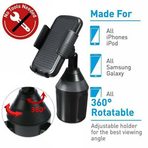 Universal 360° Adjustable Car Cup Mount Holder For Cell Phones / GPS Bracket