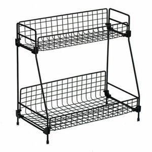 2Tier Metal Wire Basket Rack Bathroom Kitchen Storage Shelf Organizer Spice Rack