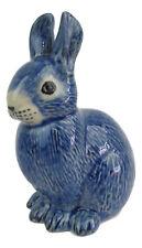 Rabbit Figurine - Ceramic Blue Approx 8cm High